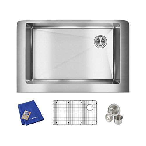 Elkay Crosstown ECTRUF30179RC Single Bowl Farmhouse Stainless Steel Sink Kit