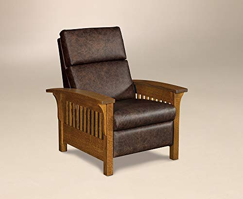 Amish Arts & Crafts Solid Wood Recliner Chair, Stained Michael's Cherry (Texas Leather)