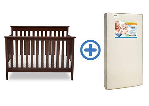 Delta Children Greyson Signature 4-in-1 Convertible Crib,  Walnut Espresso  with Twinkle Stars Supreme Crib and Toddler Mattress