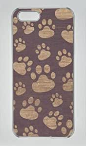 Paw Print Design Iphone 5 5S Hard Shell with Transparent Edges Cover Case by Lilyshouse
