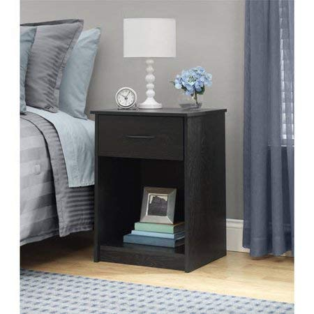 - Mainstays Nightstand MDF End Tables Pair Bedroom Table Furniture, Black Ebony Ash Finish + Free Furniture Polish