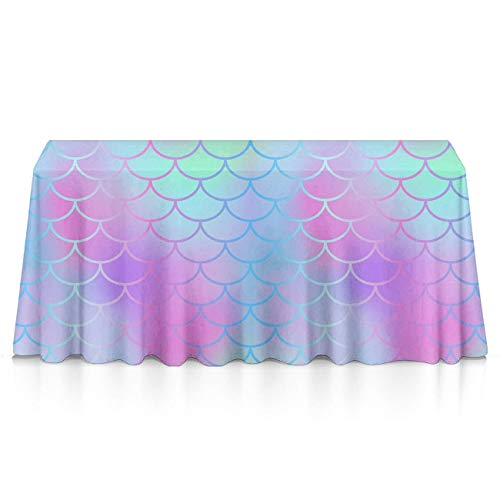 Fish Colourful - Rectangle Tablecloth - 60x120 Inch - Colourful Fish Scale Magic Mermaid Tail Rectangular Table Cloth in Washable Polyester - Great for Buffet Table, Parties, Holiday Dinner, Wedding & More