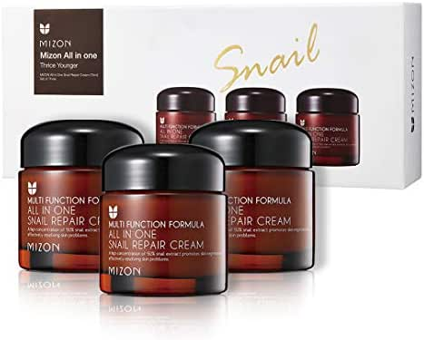 Korean Skin Care Set: Mizon's All in One Snail Repair Cream 3 Pack, Face Moisturizer with Snail Mucin Extract, Anti-wrinkles, Acne Scars and Dark Spots Treatment, 7.59 Oz (75ml x3)