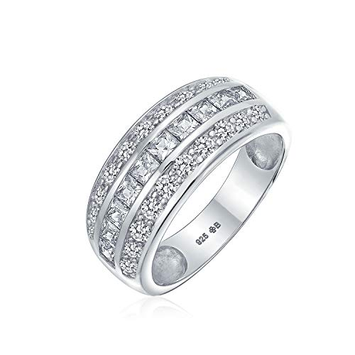 Cubic Zirconia Channel Set Princess Cut CZ Dome 3 Row Wide Statement Wedding Band Ring For Women Sterling Silver