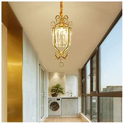 American Chandelier Crystal + Copper Pendant Light E27 Led Light Source Aisle Balcony Recreation Area,