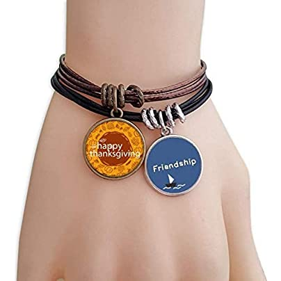 Happy Thanksgiving Illustration Pattern Friendship Bracelet Leather Rope Wristband Couple Set Estimated Price -