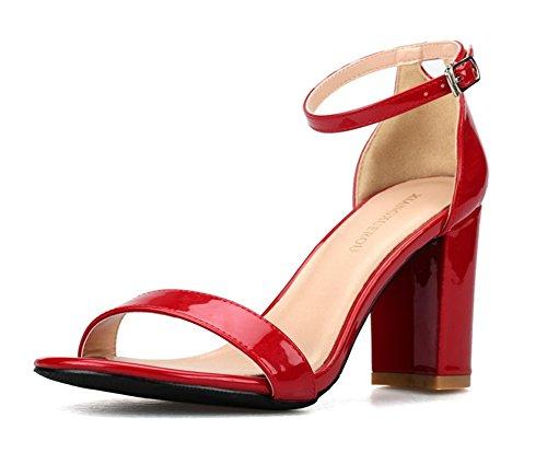 Tamaño Noche Paseo Tacón Zapatos Fiesta 3 Red 8 Sandalias Tobillo Strappy Bloquear Nvxie Correa Señoras Mujer Hebilla PxqC4OT