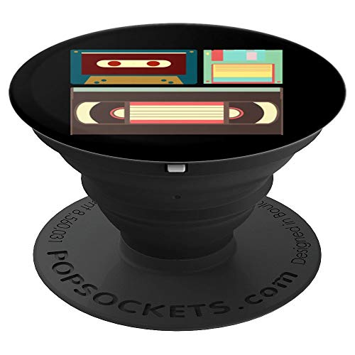 - Old School Vintage Floppy Disk VHS and Casette Tapes Design - PopSockets Grip and Stand for Phones and Tablets