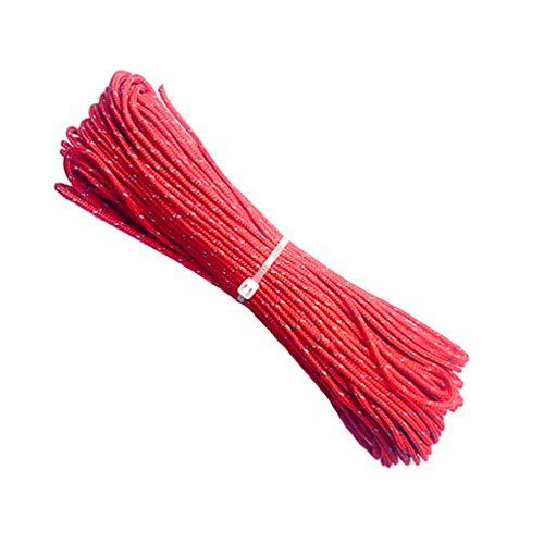 ThreeBulls 1.8mm Fluorescent Reflective Guyline Tent Rope Camping Cord Paracord (Red, 20m)