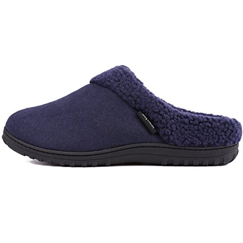 Men's Memory Shoes Navy Fleece Slippers Wool Indoor Cozy Blue Sole Snug Like Outdoor Leaves Lined Foam House Rubber 5qRttP