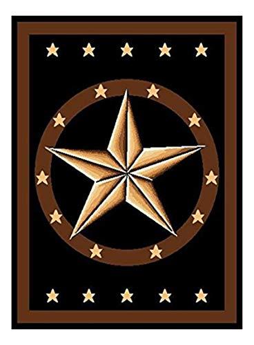 Furnish my Place Texas Western Star Rustic Cowboy Decor Area Rug, Brown/Black
