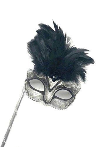 [Mysterious Mardi Gras Masquerade Mask with Black Feather & Gray Stick] (Feather Mask With Stick)