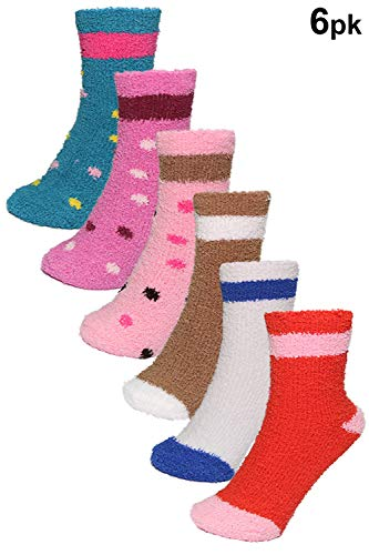 Fuzzy Dot Socks (Basico -Valentine's Day Gift - Soft Warm Microfiber Fuzzy Winter Socks Crew 6 Pairs (6pk Polka Dots Stripe))