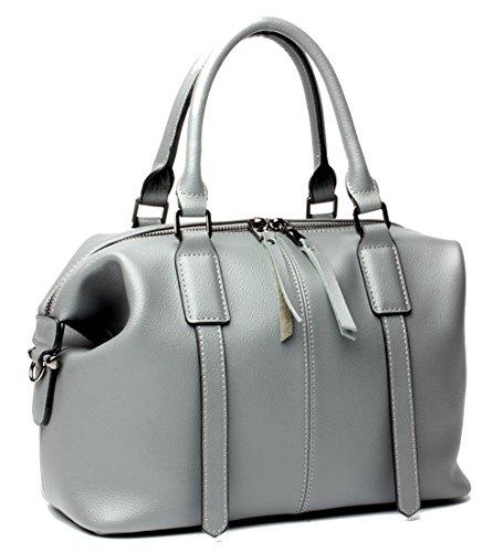 Handbag Bag and Heshe Cross Boston Leather Body Ladies Satchel Women Handle Purses for Top Bag Shoulder Bags Totes Grey Handbags qPgq4w8U