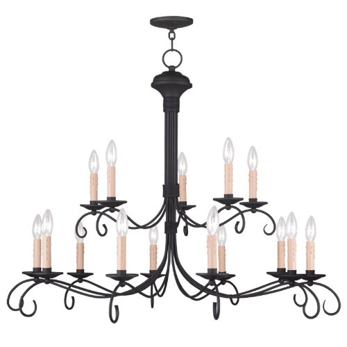 Livex Lighting 4448-04 Heritage 15-Light Chandelier, Black