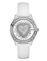 GUESS Factory White and Silver-Tone Glitter Heart Watch