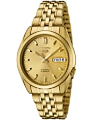 Seiko Mens SNK366K Seiko 5 Automatic Gold Dial Gold-Tone Stainless Steel Watch