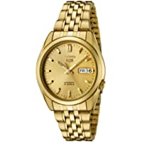 Seiko Men's 5' Japanese Automatic Gold-Tone-Stainless-Steel Casual Watch, Color:Gold (Model: SNK366K)