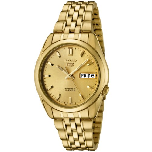 Seiko Men's 5' Japanese Automatic Gold-Tone-Stainless-Steel Casual Watch, Color:Gold (Model: ()