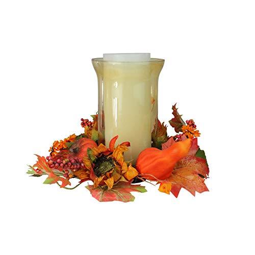 unflower and Pumpkin Thanksgiving Hurricane Pillar Candle Holder ()
