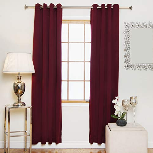 Blackout Curtain Burgundy Antique Brass Grommet Top Thermal Insulated 64 Inch Length Pair