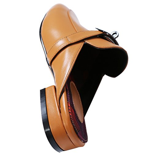 Heel Mules Calaier Ca Toe Block Zapatos Women on Marrón Closed 5CM Sandalias 1 Slip v6w40vgq
