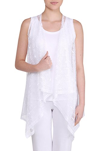 Nygard Women's Plus Size Slims Lacey Vest - Lace White Vest