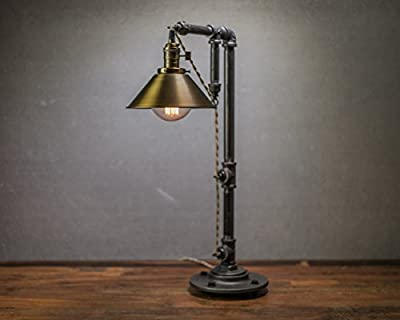 Industrial Style Lamp - Table Lamp - Antique Brass Shade