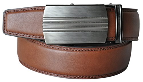 (Hampton Leather Belt with Innovative Contempo Ventura Ratchet Belt Buckle - One Size Fit, Saddle Tan)
