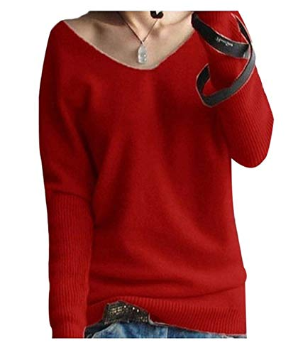 Cashmere Sweater Red - LONGMING Women's Fashion Big V-Neck Pullover Loose Sexy Batwing Sleeve Wool Cashmere Sweater Winter Tops(Red, L)
