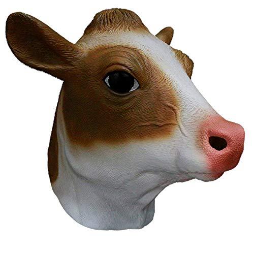 Latex Hood Farm Animal Cow Head Mask Cute Funny Cow Costume Props School Party -