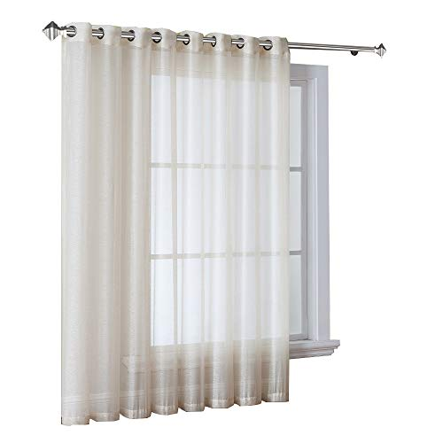Warm Home Designs 1 Extra-Wide Light Beige Sheer Patio Curtain Panel 102 x 84 Inch Long with Grommets. Designed as Patio Door, Sliding Glass Door, or Room Divider Drape - K Patio Beige 84