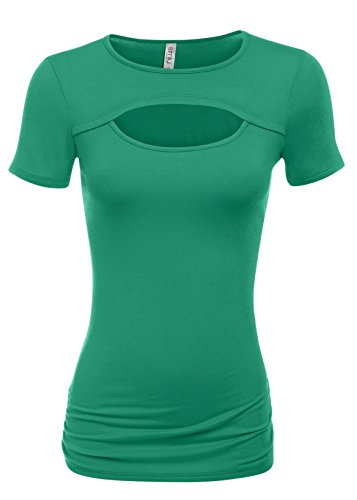 Emerald Tops for Women Sexy Keyhole Tops Side Ruched Top (Size Small, Emerald)