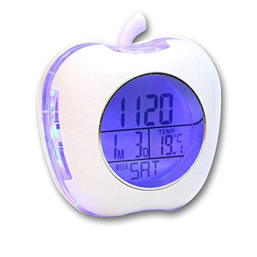 Apple Shaped Talking Alarm Clock with Temperature and Calendar - White
