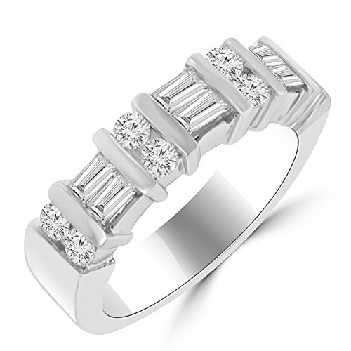 Madina Jewelry 1.50 ct Baguette and Round Cut Diamond Wedding Band Ring in Platinum in Size 9