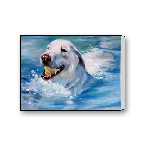 Painting Swimming Dog Custom Canvas Print Personal Photos Print on Canvas Ready to Hang on Your Wall as a Modern Art 16