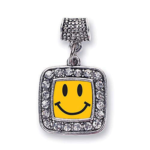 Inspired Silver - Smiley Face Memory Charm for Women - Silver Square Charm for Bracelet with Cubic Zirconia Jewelry