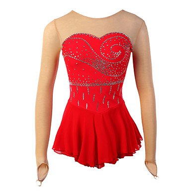 Make Figure Skating Dress (Skating Queen Figure Skating Dress for Girls Women Ice Skating Competition Stage Performance Costume Rhinestone Handmade Professional Skating Wear Long Sleeves Red, child 14)