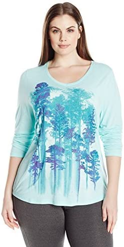 Just My Size Womens Plus Size Long Sleeve Graphic V-Neck Tee