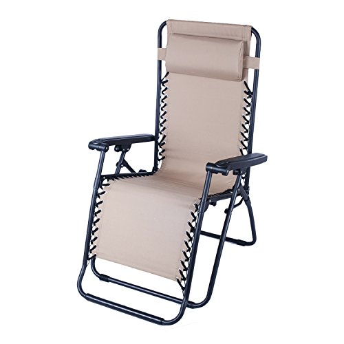 Adeco Outdoor Folding & Reclining Zero Gravity Chair, For...