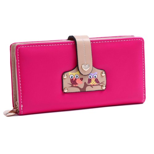 Damara Women Large Practical Wallet Snap Closure Purse,Rose
