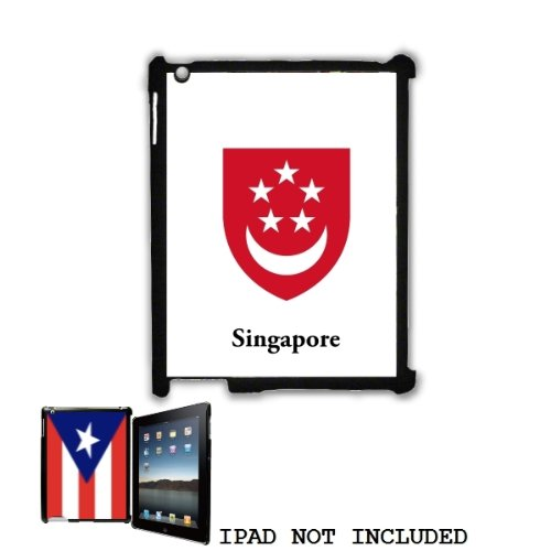 Singapore Coat of Arms Flag Emblem Snap On Shell Case Cover for iPad 2 3 Black