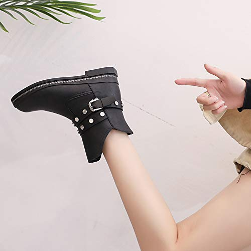 KPHY Damenschuhe Kurze Stiefel Mit Hohen 3Cm Stiefel Stiefel Stiefel Flachen Boden Wild Rauh Kurze Ma Dingxue deda11
