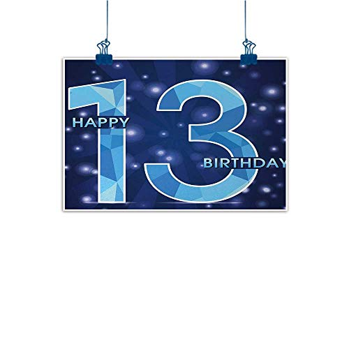 Sunset glow Wall Painting Prints 13th Birthday,Thirteen Polygonal Effect Emblem on Dark Blue Backdrop and Stars,Dark Blue Pale Blue 20