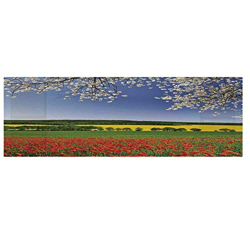 (Floral Cotton & Linen Microwave Oven Protective Cover,Poppy Field with a Spring Landscape and Blossom Tree View in Meadow Nature Home Decor Cover for Kitchen,36