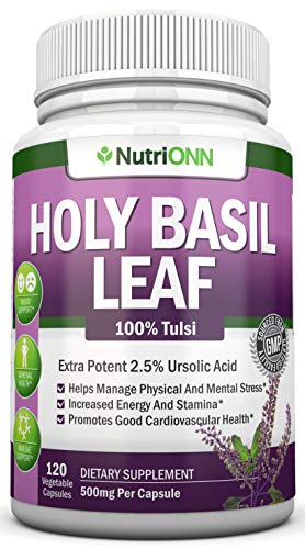 Holy Basil Leaf Extract - 500mg - 2.5% Ursolic Acid - 120 Vegan Capsules - Premium Tulsi Leaf Powder Supplement - Powerful Adaptogen for Stress and Anxiety Management - Supports ()
