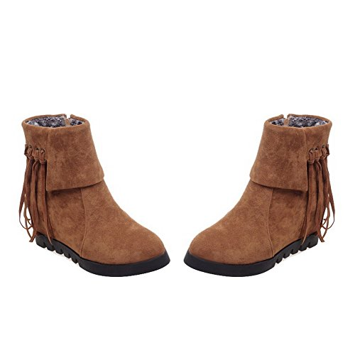 Allhqfashion Women's Frosted Zipper Round Closed Toe High-Heels Low-top Boots Brown Ds7wZ