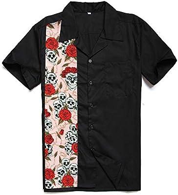 KPOON Camisa de Manga Corta para Hombre Retro de Manga Corta Camisa de Costura Punk de