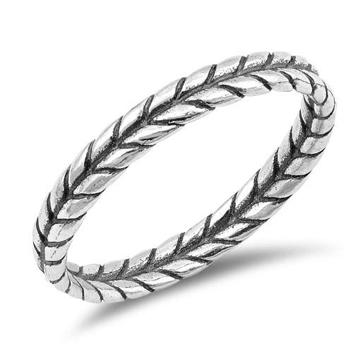 Leaf Braid Glitzs Jewels 925 Sterling Silver Ring Cute Jewelry Gift for Women in Gift Box