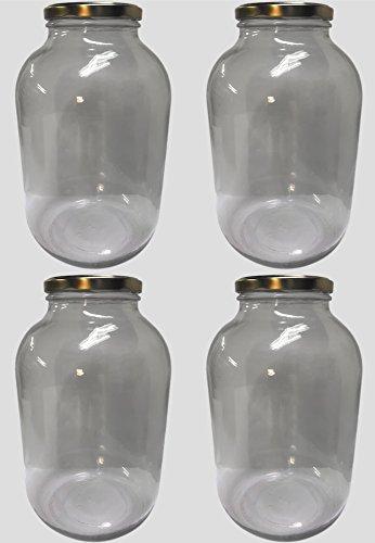 Clearview Container jarra de cristal de boca ancha tarro con tapa de oro poste de metal